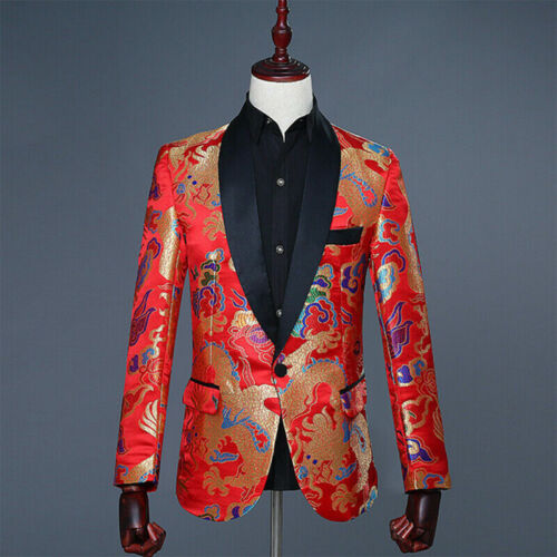 Details about  /Mens Red Dragon Pattern Suit  Chinese Style Blazer Wedding Jacket Stage Costume