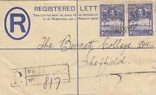SIERRA LEONE:1933 GV 2d brown REGISTERED Envelope size F  H&G C4  used to UK