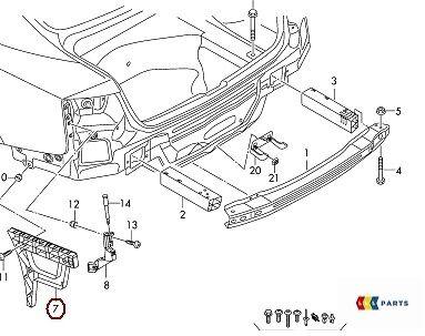 NEW GENUINE AUDI A4 B8 13-16 O//S RIGHT REAR BUMPER SUPPORT BRACKET 8K5807454A
