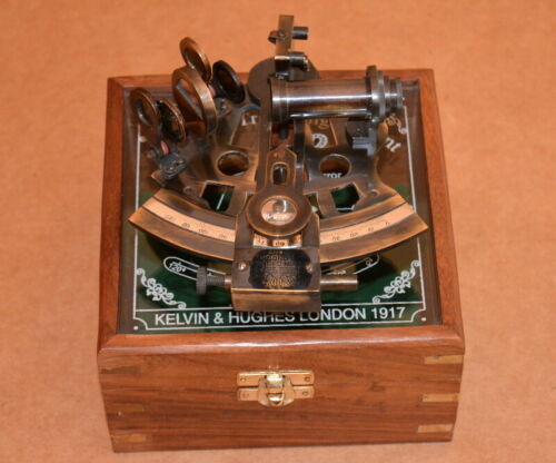 Vintage marine collectible brass german nautical working sextant with wooden box
