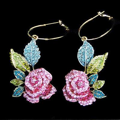 Flower Rose Hoop Dangle Earrings Multi Austrian Crystal Gold GP Women Party