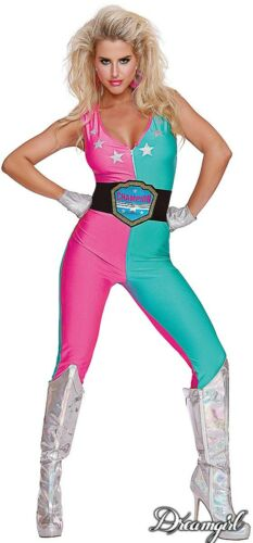 Details about  /Dreamgirl Wrestling Champ Costume  Women/'s Retro  1980/'s Workout Diva SM-XL