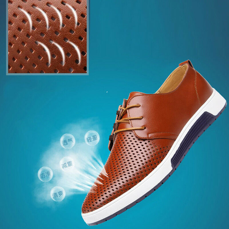 Men British Casual Genuine Leather Shoes Lace-up Sneakers Oxford Breathable New