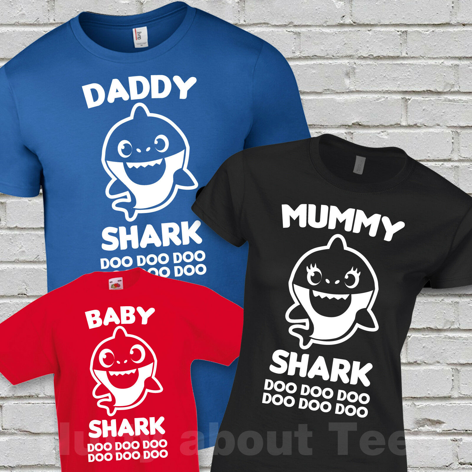 74d1f420 BABY SHARK DOO DOO T-SHIRT SONG MUMMY DADDY FAMILY MATCHING FUNNY CUTE  REDFunny free shipping Unisex Casual Tshirt top