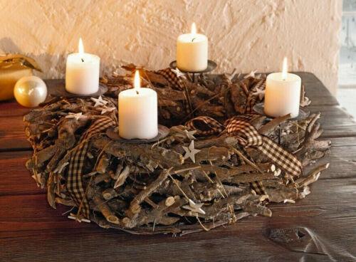 Kerzenständer Weihnachtskranz Gesteck Adventskranz White Stars 43 cm