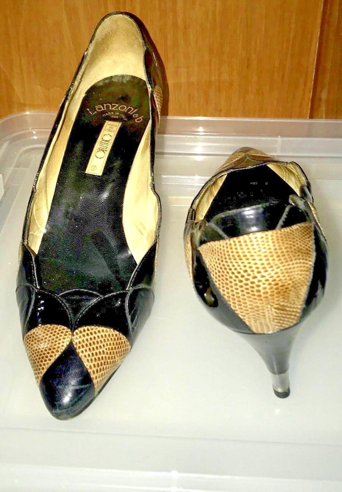 Lanzoni & B B B Zapatos Tacones 38 US 8 B charol y piel de serpiente  marca famosa