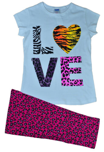 LOVE Pyjamas Girls Animal Print  Long Pjs 9 to 13 Years White