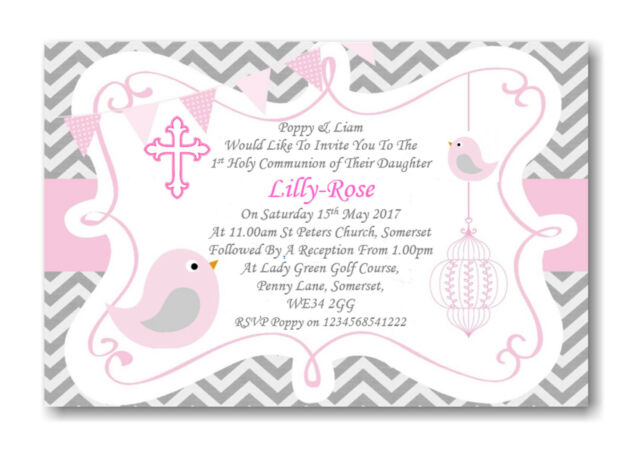40 Personalised Girls Pink First , 1st Holy Communion Invitations / Invite ZZ