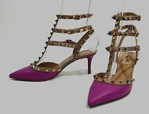 00e49d96f764 Image is loading 995-Valentino-Magenta-Leather-Rockstud-Ankle-Strap-Pumps-