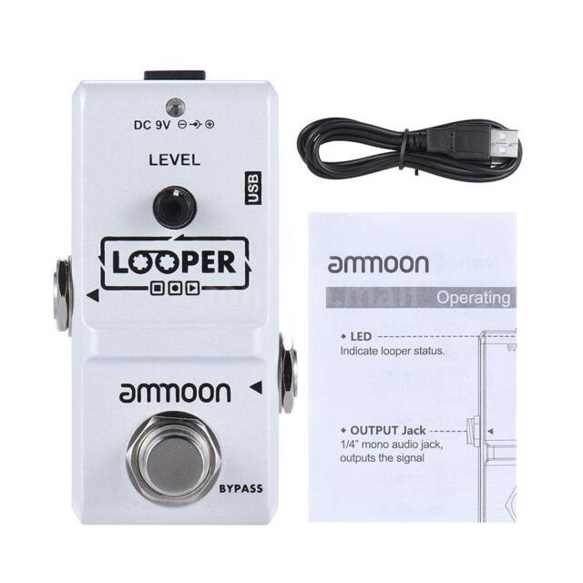 Ammoon AP-09 Loop Electric Guitar Effect Pedal Looper Unlimited Overdubs White
