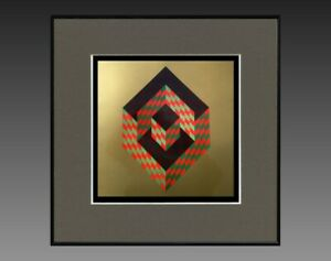 VICTOR-VASARELY-1906-1997-ANCIENNE-SERIGRAPHIE-034-CYNETIQUE-034-VERS-1970-75-37