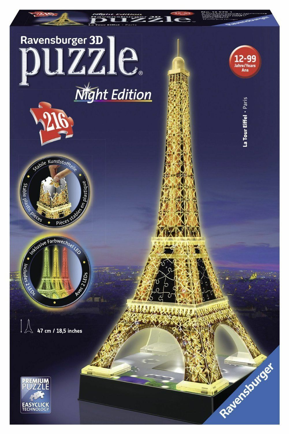 NEW  Ravensburger 3D Puzzle Eiffel Tower Night Edition 216 piece jigsaw 12579