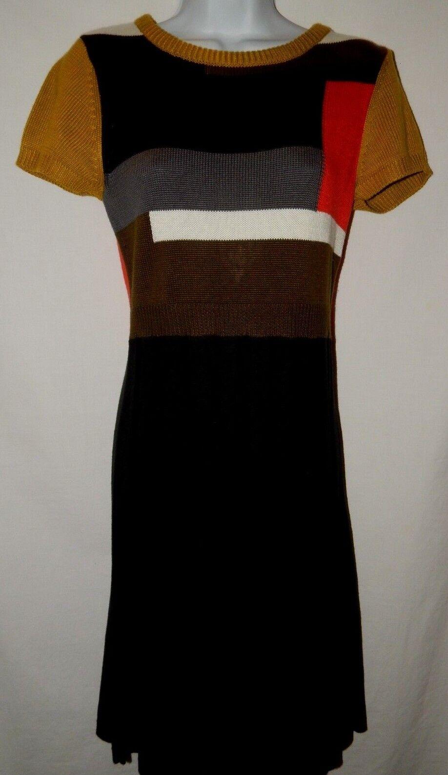 Robe de Pull M Vince. Camuto Bloc de Robe Couleur Mince et Evasé Plissé Noir Vert D145 544a59
