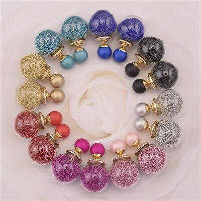Women New Glass Balls Zircon Round Ear Stud Double Sides Bubble Pearl Earrings