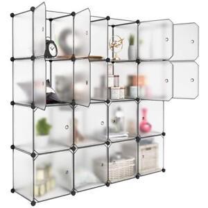 Bon Details About Shoe Storage Shelving Cube Organizer Plastic Storage Cubes  Drawer 16 Cubes