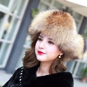 5d4a7ab1ca7 100% Real Genuine Fox Fur Hat Cap Headwear Women Warm Winter Bomber ...
