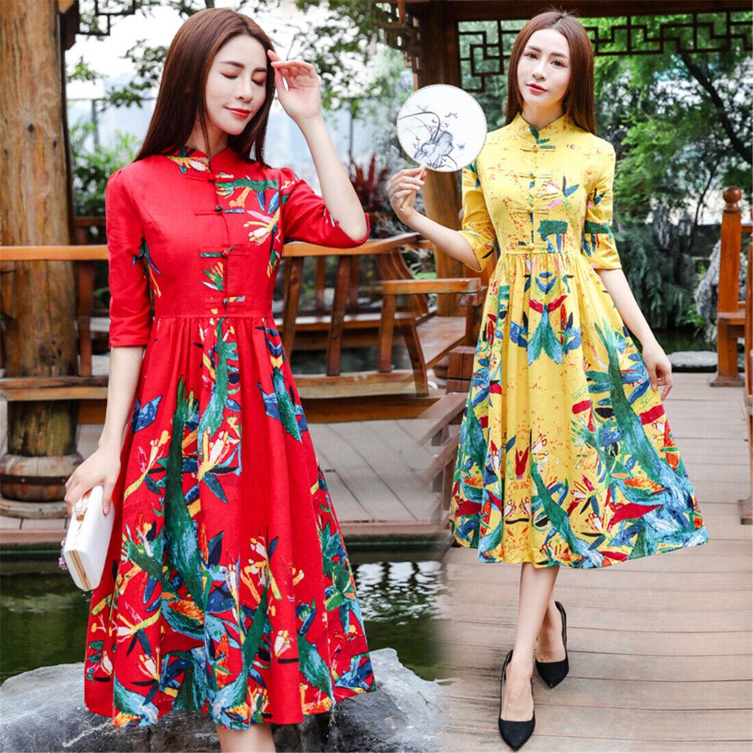 Summer Cotton Linen Short Sleeves A-Line Women Slim Long Dress Cheongsam M-2XL