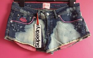 New-Womens-Vintage-Superdry-Raw-Edge-Hot-Pants-Full-Bleach-RRP-39-99