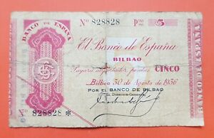 BILLETE-CAPICUA-828828-5-PESETAS-1936-Pick-S-551-BANCO-DE-BILBAO-Euzkadi-RARO