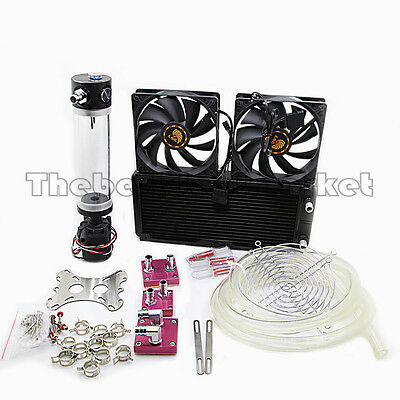 Water Cooling Kit  240 Radiator CPU GPU Block Pump Reservoir Tubing Barb 3/8 ID