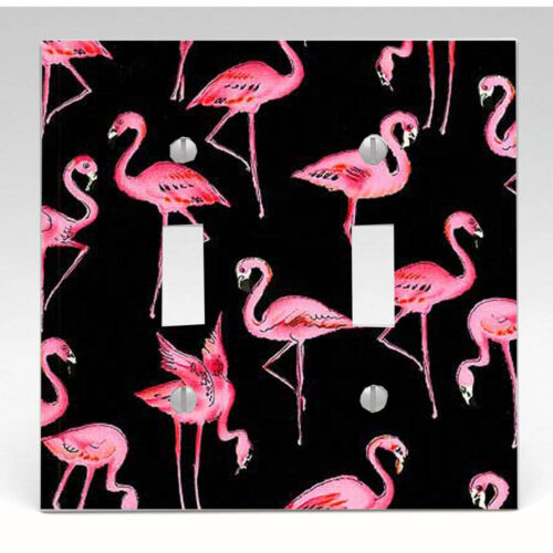 Kitchen Decor,Knobs Pink Flamingo on Black Background Light Switch Cover Knob