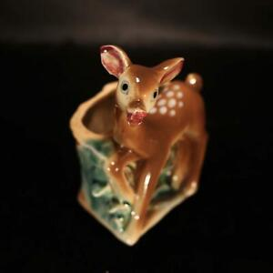 "Vintage fawn Bambi planter 6"" tall Deer figurine Succulent planter Indoor garden"