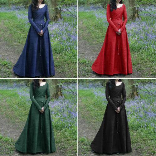 Renaissance Medieval Womens Maxi Dress Retro Gown Halloween Costume Kimono Abaya