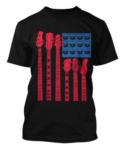 Musician Instrument Men/'s T-shirt Guitar American Flag
