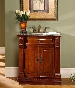 """33"""" Granite Stone Top Single Sink Bathroom Vanity Cherry ..."""