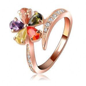 Anello-Raffinato-a-Forma-di-Fiore-Placcato-Oro-Rosa-e-Cristalli-Multi-Taglie