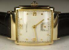 Vintage Men's Wittnauer 10K Solid Gold 15J 10E AXA Swiss Watch Black Leather