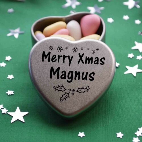 Merry Xmas Magnus Mini Heart Tin Gift Present Happy Christmas Stocking Filler