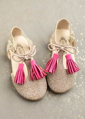 NIB New Joyfolie Laiyla Tassel Girls Shoes in Rose /& White Tassel 4 Toddler