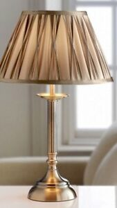 BNWT-Vintage-Antique-Brass-Style-Gold-Satin-Pleat-Reed-Table-Side-Lamp-NEW