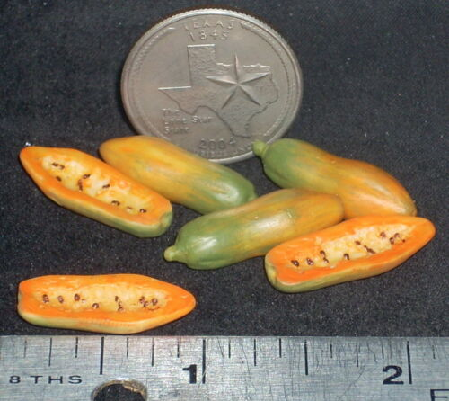 Dollhouse Miniature Papaya Fruit Whole & Sliced 1:12 #A4148 Market Store Farm