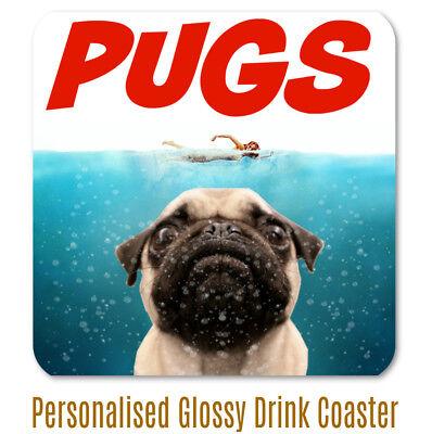 Pug Mug Jaws Poster PUGS Ceramic Mug /& Glossy Drinks Coaster Birthday Christmas