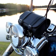 Bike Handlebar Leather Tool Bag Motorcycle Windshield Fork Cargo Pouch Black NEW
