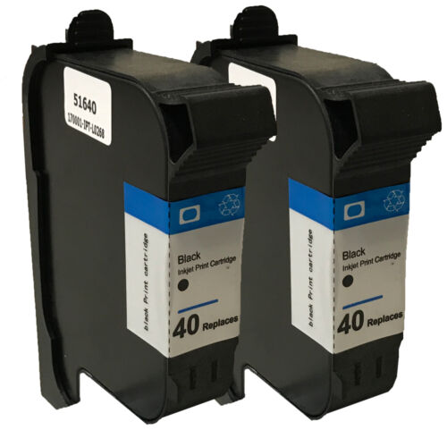 2psc HP40 Black Ink Cartridge  For 1200 430 450c 455ca 488c HP 51640A Reman
