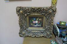Signed Nicholas Oil on Panel Painting Still Life Flower Vase Chunky Wood Frame