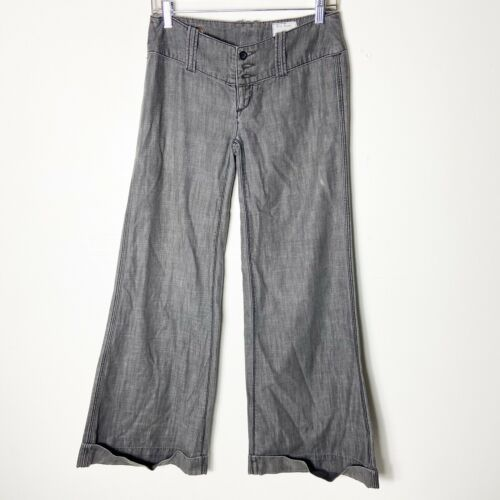 Free People Womens Black Wide Leg Bell Bottom Supe