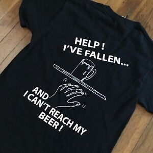 Vintage-HOBO-039-S-Cafe-Help-I-039-ve-Fallen-and-Can-039-t-Reach-My-Beer-T-Shirt-Tee-SMALL