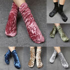 Women Girls Velvet Look Shiny Stockings Ladies Ankle Socks Winter Fall Stock