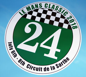 LE-MANS-24-HOURS-039-CLASSIC-039-2018-PAIR-of-stickers-decals-200mm-diameter