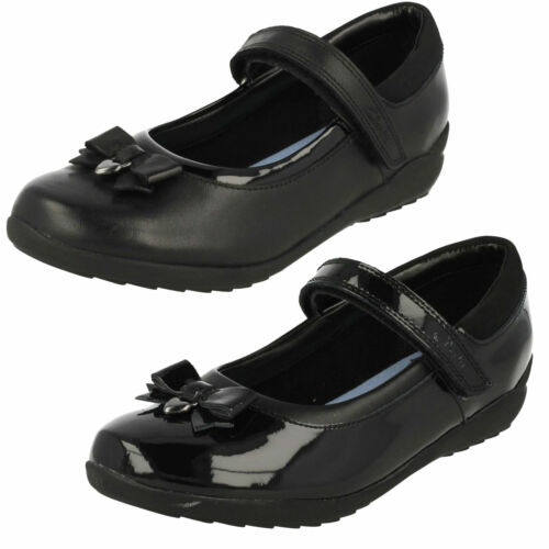 Filles Clarks Cuir Riptape Sangle Nœud Mary Jane École Chaussures Ting fièvre