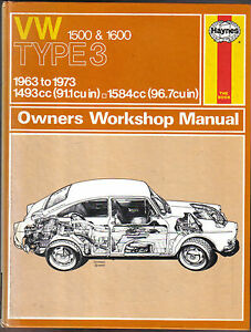 vw 1500 1600 type 3 1963 1973 haynes owners workshop manual ebay rh ebay co uk VW Type 4 VW Type 5