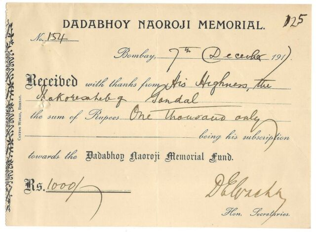 India 1917 receipt signed Dinshaw Vacha founder Indian National Congress