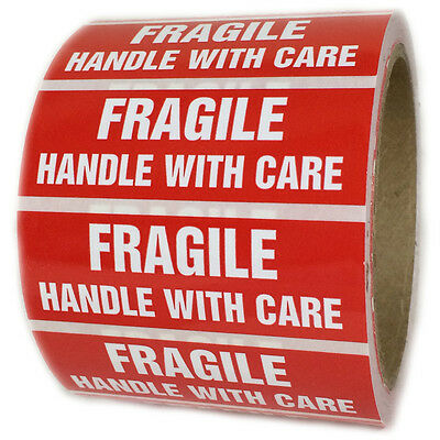 "Glossy Red ""Fragile Handle with Care"" Labels Stickers - 1"" by 3"" - 500 ct Roll"