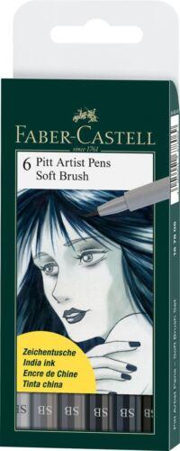 PITT ARTIST PEN WALLET OF FABER CASTELL 6 SOFT BRUSH SB