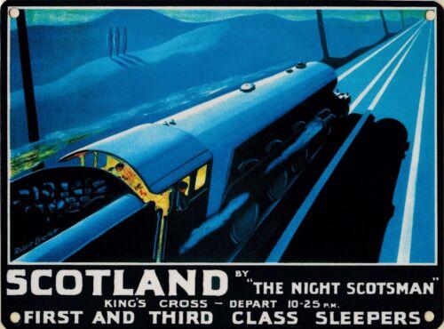 Night Scotsman train advertising sign 20x30cm metal railway wall plaque