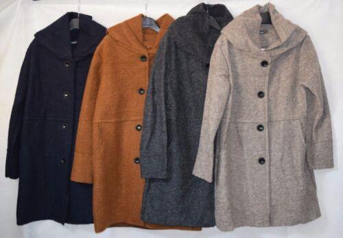 Donna Lunga Mix di lana cotta feltro DUSTER esposti Cucitura Bottone attraverso Cappuccio Cappotto